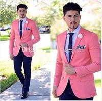 erkekler için pembe smokinler toptan satış-Klasik Stil Damat Smokin Groomsmen Pembe Çentik Yaka En İyi Adam Takım Elbise Düğün erkek Blazer Takımları (Ceket + Pantolon + Kuşak + Kravat)
