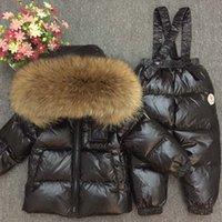 ingrosso ragazze di abbigliamento da sci--30degrees Set di abbigliamento invernale per bambini Russia baby Girl Set di tute da sci Boy's Outdoor sport Giubbotti per bambini Giacche + pantaloni Pelliccia