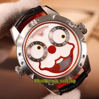 Wholesale pin ground online - Unique Smiling face Creativity Konstantin Chaykin Joker Red Dial Swiss Quartz Mens Watch CNC grinding Silver Case Leather Strap Watches