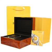 cajas de madera para hombres al por mayor-Marca de lujo de alta calidad caja de reloj bolsas de papel certificado cajas originales para breitling hombres de madera para hombre relojes caja de regalo