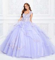 vestido de corsé púrpura claro al por mayor-2020 Light Purple Ball Gown Vestidos de quinceañera Blusa de encaje Corsé Cuentas con apliques Vestido de fiesta Sweetheart Princess Vestidos de fiesta con cordones