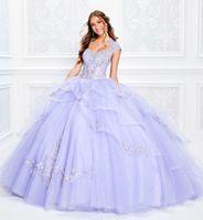 vestido espartilho roxo claro venda por atacado-2020 luz roxo vestido de baile quinceanera vestidos corpete espartilho Appliqued Beads vestido de baile querida princesa partido vestidos Lace-up
