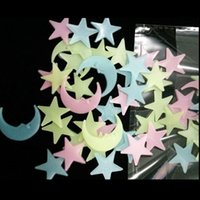 Wholesale korean star glasses resale online - 100 home wall glow in the dark stars stickers moon and star stickers Wall Ceiling Decor Stick On Space ceiling decoration d CM