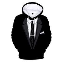 ingrosso pullover kpop-Suit 3D uomo Tie cappuccio Nuove felpate delle donne / uomini della coppia Kpop Hip Hop Punk Autunno Inverno Tops Abbigliamento Nero bianco