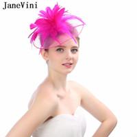 Wholesale fascinators wedding hats bride resale online - JaneVini New Fashion Womens Wedding Hats Vintage Feather Bridal Hats Hair Wedding Accessories Bride Birdcage Fascinators