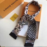 korea taschen großhandel-Frauen Bandana Band Korea Schmale Streifen Druck Haarband Dekoration Kleine Kopf Halstuch Binden Paket Frau Handtasche Griff Schals