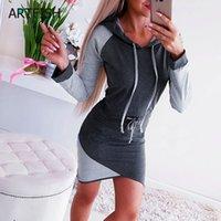 gri hoodie elbisesi toptan satış-Turtleneck Uzun Kollu Sonbahar Kış Elbise Kadınlar Gri Siyah Patchwork Casual Kapşonlu Hoodie Giydirme Plus Size Kazak Mini M0081