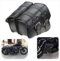 motosikletler eyer çantaları toptan satış-SERIN Toptan Ücretsiz kargo Sıcak satış 2019 Harley Sportster Için 2 adet Motosiklet Deri Yan Eyer Çanta Sportster XL883 / 1200 Siyah