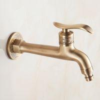 robinets d'eau en laiton antique achat en gros de-Long robinet Bibcock laiton antique salle de bains vadrouille évier robinets extérieur jardin grue montage mural machine à laver robinets d'eau