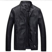 Wholesale korean fur hat men resale online - Brushed Autumn MEN S Leather Coat Korean style Short PU Leather Coat Fashion Man Locomotive Leather Jacket