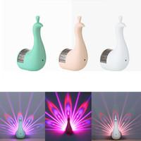 ingrosso decorazione della lampada magica-Lampade da parete creative Peacock 3D LED Projection Night Light Magia Colorful Remote Control Lampada Home Decoration luce notturna