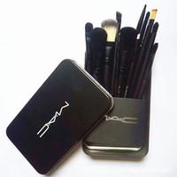 12 paket toptan satış-12 adet M AC Yüksek Teknoloji Makyaj Fırçalar Setleri Kiti Ile Metal Fırça Ambalaj Makyaj Fırça Set