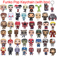 Wholesale pvc figure keychain resale online - Funko POP Marvel Super Hero Harley Quinn Deadpool Harry Potter Goku Spiderman Joker Game of Thrones Figurines Toy Keychain action figures