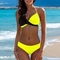 maillot sexy push up al por mayor-Ropa de baño sólida Bikini traje de baño Ropa de playa Biquini Maillot De Bain Push Up Traje de baño Mujeres Sexy Triángulo Bañistas
