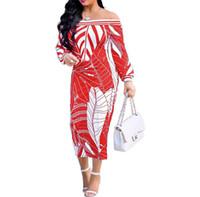 vestido de moda de mujer de europa al por mayor-2018 Europa y los Estados Unidos palabra sexy hombro moda femenina vestido de manga larga vestido falda envuelta vestido de pecho