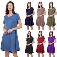 Wholesale gowns green colour resale online - Brand New Womens Designer Dresses Fashion Womens Casual Dresses Summer Solid Color Womens Dress Designer Beach Dress Multiple Colour