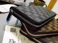держатели металлических карт оптовых-Горячей! Оптовая продажа известного бренда моды на одной молнии дешевые роскошный дизайнер женщин искусственная кожа бумажник леди дамы длинный кошелек AA18