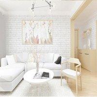 tuğla duvar kağıtları toptan satış-2019 PE Köpük 3D Duvar Çıkartmaları Duvar Kağıdı DIY Tuğla Taş Duvar Dekor Oturma Odası Çocuk Odası Modern Tarzı Dekoratif Sticker