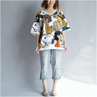 t-shirt snoopy achat en gros de-Femmes Coton Kawaii Anime T Shirt Plus La Taille T-shirt Dessin Animé Coréen Snoopy Chien T-shirt Mignon Tops Vêtements Pour Femmes De La Mode T-shirts