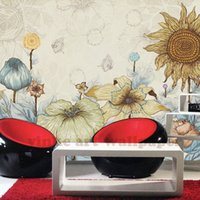 Wholesale pastoral wall murals for sale - Group buy Custom Wall Mural Wallpaper European Style Retro Hand Painted sunflowers Pastoral TV background Wall Painting Wallpaper D