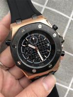 chronomètre achat en gros de-Vente en gros Hot Mens Watch Montre de luxe Tous Cadran Travail Bracelet en caoutchouc Mens Designer Montres Quartz Mouvement Chronographe Chronomètre Royal Oak Clock