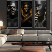 fotos de la rama de un árbol al por mayor-El oro africano negro y mujer desnuda Cuadros lienzo Pintura carteles y las impresiones escandinava Arte cuadro de la pared de la sala de estar Decoración Y200102