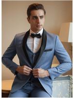 ingrosso vestito di lana blu chiaro-Vestito da uomo blu chiaro vestito a spina di pesce Tre pezzi ufficiale smoking caldo di lana Giacca da sposo per matrimoni (giacca + gilet + pantaloni)