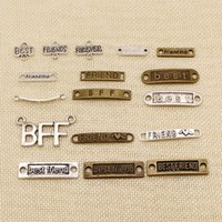 Wholesale metal jewelry pieces resale online - 60 Pieces Metal Charms For Jewelry Making Best Friend Friendship Text Tag Connection HJ140