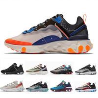 ingrosso scarpe da corsa delle donne blu scuro-2019 Total Orange Nike React Element 87 Epic React Element 87 Scarpe da corsa per donna uomo Dark Grey Blue Chill Trainer 87s Sail Green Mist Scarpe da ginnastica sportive