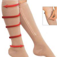 calcetines con punta abierta al por mayor-Zippered Sport Compression Calcetines hasta la rodilla Medias de punta abierta Zippered Knee-High Soporta medias Shaper pierna para mujeres RRA1189