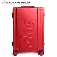 alüminyum taşıma toptan satış-100% tüm Alüminyum Rolling Seyahat Bagaj Çantası, Mat malzeme tekerlekli Valizler, Yeni kırmızı Taşıma Kutusu, 20
