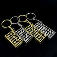 arquivo de moda venda por atacado-Ábaco chaveiros 6 arquivos 8 arquivos ábaco anel chave de metal Chinês vento ouro prata ábaco anel chave cadeia pingente de acessórios de moda ZZA885