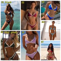 Wholesale xl thong swimsuits online – 2019 Bikini Set Multi color Swimwear Women Sexy Bench Swimsuit Bathing Suit Thong Biquini Brazilian Maillot De Bain MMA2137
