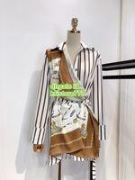 uzun elbise eşarpları toptan satış-Kadınlar Kemer Ile Resimsel Eşarp gömlek Bluz Tops High-End Özel Yaka Boyun Doğal Renk Uzun Kollu Gömlek Zincir bluz Elbise