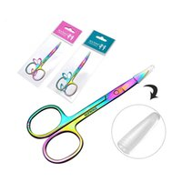 Wholesale hair color remover resale online - Professional Rainbow Color Stainless Steel Eyebrow Tweezer Eyebrow Mini Scissors Clip Anti static Face Hair Remover Tool RRA1715