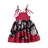 Wholesale outfits suspenders online - Baby Girls Floral Strap Dress Toddler Sleeveless Dress Party Formal Princess Floral Sundress Outfit Tulle Floral Dress LJJW130