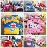 Wholesale mint green bedding resale online - Bedding Set Cartoon Hello Kitty cat Doraemon Duvet Cover Sets Soft Polyester Bed Linen Flat Bed Sheet Set Pillowcase