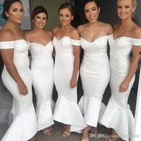 fildişi kıvırcık elbiseler gelinlik toptan satış-Yeni Moda Fildişi Mermaid Gelinlik Modelleri Pleats Kapalı Omuz Hi-lo Ruffles Backless Sweep Tren Hizmetçi Onur Düğün Elbiseleri