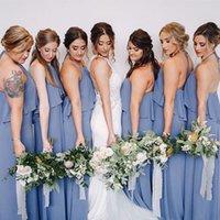 plaj gelinlik misafir toptan satış-Vestido De Novia Uzun Mavi Gri Şifon Gelinlik Modelleri Halter Ruffles Tam Boy Rahat Plaj Elbiseleri Düğün Konuk Elbiseleri