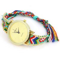 Wholesale braided watches for sale - Group buy Women s Geneva Ethnic Cotton Blend Handmade Braided Analog Quartz Chain Bracelet Wrist Watch Ladie Dress Watch