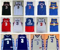 camisas de allen iverson al por mayor-Allen Iverson Jerseys # 3 de calidad superior barato Georgetown Hoyas Allen Iverson baloncesto Jerrsey College University camisas para hombre cosido S-XXXL