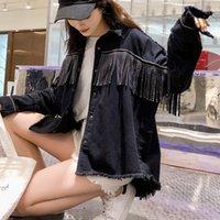 frauen schwarze jeansjacke großhandel-Frauen Schwarz Plus Größe Lose Jeansjacke Mantel 2019 Herbst Streetwear Oberbekleidung Dame Pailletten Quasten Taste Jeans Jacken Weiblich