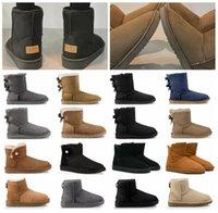 couro slip shoes mulheres venda por atacado-Austrália 2020 recém-chegados da neve do inverno botas mulheres com clássico caixa de couro alto Bailey Bow Sapatos menina sz5-10 Lã Pele preço barato Bota