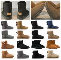 botas de lana de mujer al por mayor-Australia 2020 Les novedades nieve del invierno mujeres de las botas con la caja de cuero clásico de alto Bailey chicas arco zapatos de lana sz5-10 Piel precio barato de arranque
