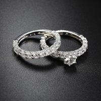 anel de pedra branca prata 925 venda por atacado-Luxo Feminino Branco Nupcial Do Casamento 925 Anel Set Moda Prata Cheia Jóias Promessa CZ Pedra Anéis de Noivado Para As Mulheres 5-10