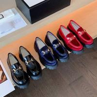 оригинальные кожаные туфли оптовых-{Оригинальный логотип}платформа повседневная обувь 100% кожаная роскошь с толстой подошвой Обувь дизайнерская кожаная буква ленивая женская обувь размер 34-41 us3-10