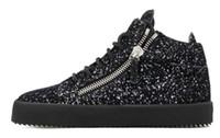 siyah sülükler dantel toptan satış-Bling Sequins Erkekler Rahat Ayakkabılar Siyah Dantel Up Sneaker Üst Fermuar Glitters Düz Kalın Alt Creepers Zapatillas Hombre Ayakkabı