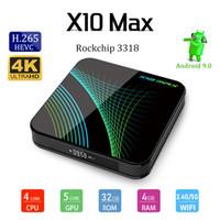 android tv kutusu 5g toptan satış-Sıcak Satış X10 MAX 4GB 32GB RK3318 Android 9.0 TV Box 4K 2.4G 5G WiFi, Bluetooth Smart TV Box PK H96 MAX