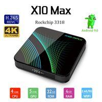 caja de tv android 32 gb al por mayor-Vendedores calientes X10 MAX 4 GB 32 GB RK3318 Android 9.0 TV Box 4K 2.4G 5G WiFi Bluetooth Caja Smart TV PK H96 MAX