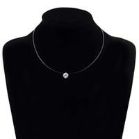 gümüş balıklar toptan satış-Kadınlar Şeffaf Olta kolye Gümüş Görünmez Zincir Kolyeler Yapay elmas gerdanlık Salkım Collier Femme 12 Renk seç